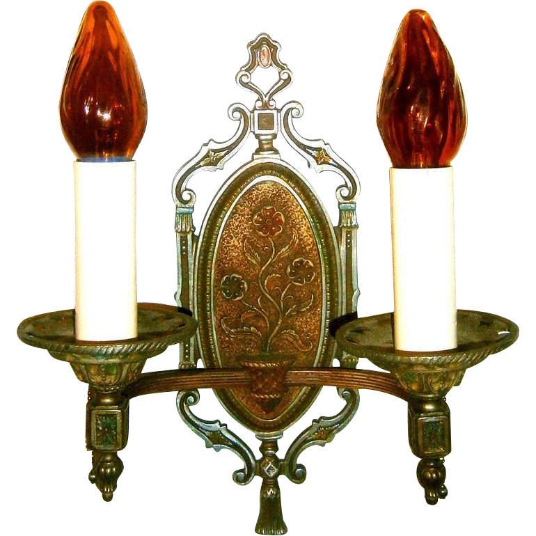 Double Candle Wall Sconces : Pair Vintage Lion Double Candle Wall Sconces from loftylighting on Ruby Lane