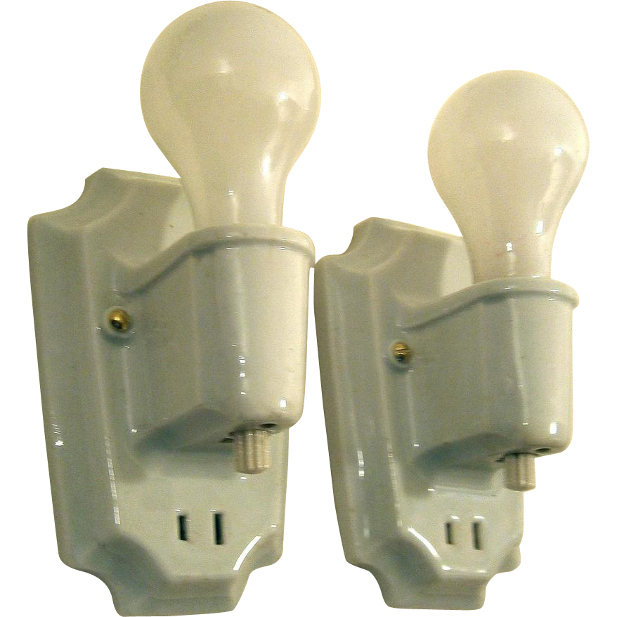Bathroom Wall Sconces With Switch : Pair Basic White Porcelain Bathroom Sconces with Turn off Switches from loftylighting on Ruby Lane