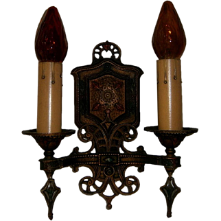 Vintage Pair Gill Glass Candle Sconces