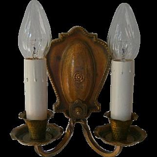 Vintage Pair of Double-Candle Halcolite Sconces
