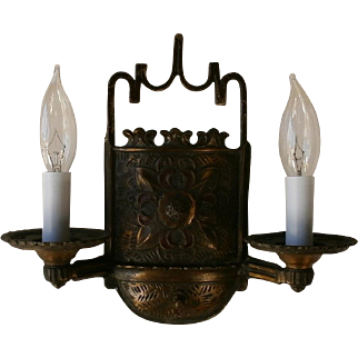 Pair Whimsical French Double Candle Sconces