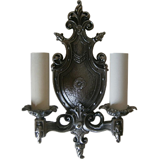 Vintage Pair Tudor Style  Iron Sconces