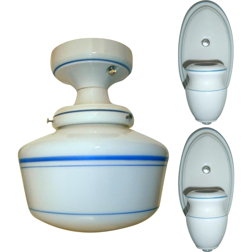 Vintage Set Alabax Porcelain Light Fixtures From
