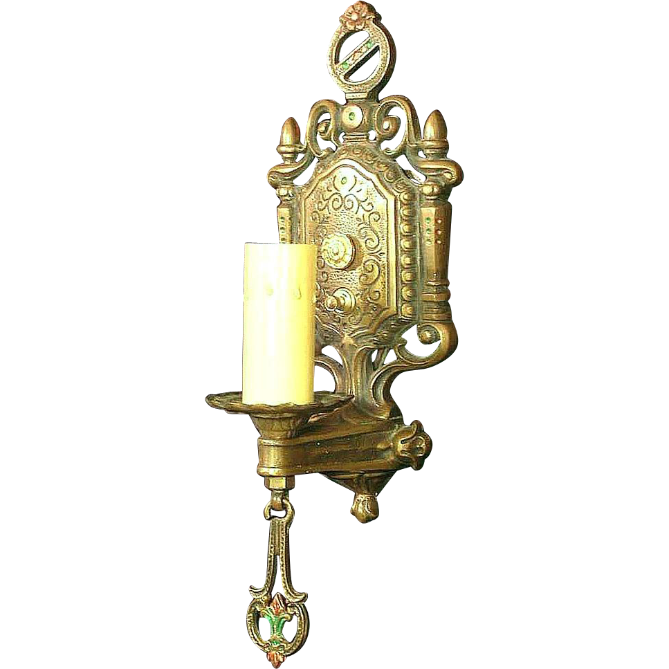 Pair vintage moe bridges bronze spanish revival sconces for Spanish revival lighting fixtures