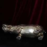 BIG English Sterling Silver Hippopotamus Figurine Heavy Solid Silver Hippo From London
