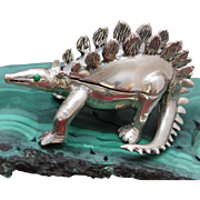 Sterling Dinosaur Box One-of-a-Kind Solid Silver Hand Caste Dinosaur Trinket Box
