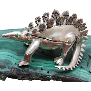One of a Kind Sterling Dinosaur Box Hand Caste Solid Silver Jurassic Trinket Cache