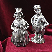 800 Silver Dutch Boy and Girl Full of Old World European Elegance Vintage Figural Salt Pepper Shakers