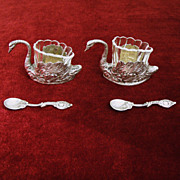 Vintage 800 Silver Swan Salt Cellars, Superbly Crafted and Full of European Charm