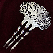 Victorian Solid Silver Hair Comb With Gorgeous Griffin Motif and Flawless Openwork