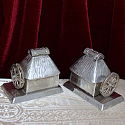 Sterling Japanese Tea Houses With Water Wheels Vintage Solid 950 Silver Salt Pepper Shakers