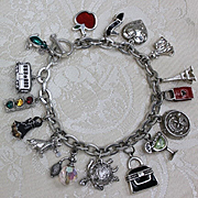 16 Fabulous Charms! Solid Sterling Silver Bracelet Packed With Colorful and Sparkly Sterling Charms