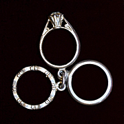 Sterling Charm 3 Piece Wedding Ring Set 1960's His and Hers Plus Engagement Ring With Faux Diamond Vintage Solid Silver