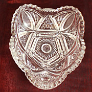 Heart Shape Pressed Glass Candy Dish