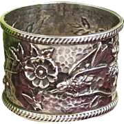 Antique British Napkin Ring By Charles Humphries Aesthetic Period Treasure With Repousse Bird and Blossom Motif