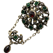 800 Silver Pin or Pendant With Faceted Emerald Colored Glass Gems