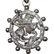800 Silver St George Pendant from Florence with De Medici Ball Motif Bezel Dimensional Front and Back