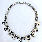 Mexican Sterling Necklace Crushed Turquoise Gorgeous Aztec Motif Vintage Silver