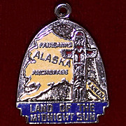 Alaska Land of the Midnight Sun Enameled 1960's Sterling Charm Inuit Totem Pole