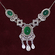 800 Silver Italian Filigree Necklace Green Chrysoprase Cabochons Vintage 1950's