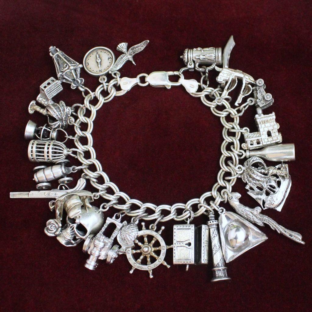 sterling pirate theme charm bracelet vintage solid silver