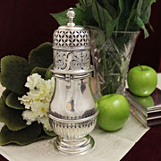BIG 1864 English Sterling Sugar Castor With Reticulated and Engraved Decorative Motifs