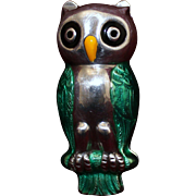 Unique Sterling Owl Box With Pristine Enamel Lovely Green Feathers