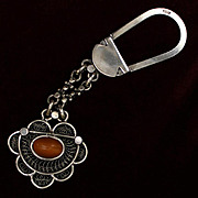 Egyptian Key Ring Solid 800 Silver With Agate Cabochon - Red Tag Sale Item