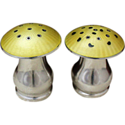Sterling Mushrooms Vintage 1960's Danish Solid Silver Mushroom Salt and Pepper Shakers With Yellow Enamel Over Guilloche Designs