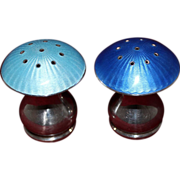 Mushroom Sterling and Enamel Salt Pepper Shakers From ELA Vintage 1960's Danish Solid Silver With Pristine Blue Guilloche By Egon Laudrisen