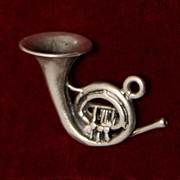 Sterling French Horn Vintage Solid Silver Charm