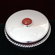 English Sterling Box With Red Agate Cabochon and Applied Border Vintage Solid Silver From UK