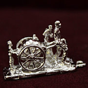Mechanical Sterling Western Pioneer Family With Cart Vintage Solid Silver Diorama of Old Western Scene