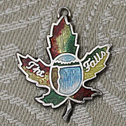 Sterling Niagara Falls Canadian Souvenir Charm With Beautiful Niagara Falls Motif on a Canadian Maple Leaf