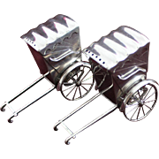 Sterling Rickshaw Salt and Pepper Shakers Rolling Wheels Vintage Japanese Solid Silver 1950s