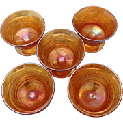 Five Carnival Glass Sherbet Cups in Marigold