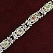 800 Silver Bracelet With Natural Gemstones From Austria