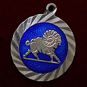 Big Sterling Ram Charm With Blue Enamel Perfect for Aries Zodiac Sign of Year of The Ram 1970's Vintage Treasure