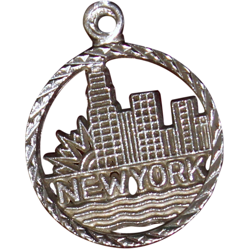 sterling new york city skyline charm vintage solid silver