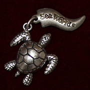 Sterling Turtle From Seaworld in Orlando Florida Vintage Solid Silver Tortoise