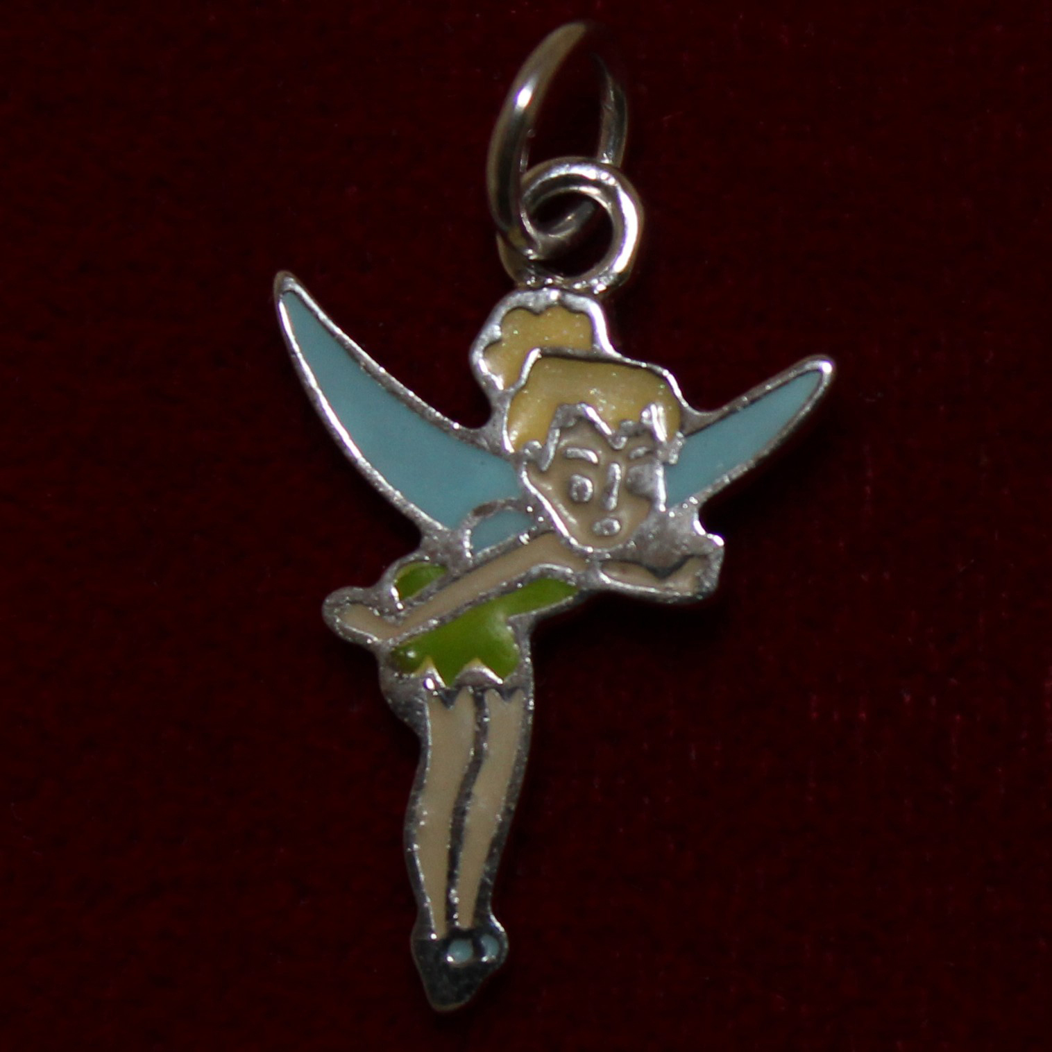 sterling tinker bell solid silver disney charm with