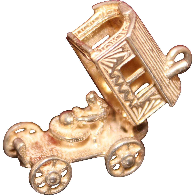 english sterling gypsy fortune teller wagon charm solid
