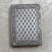 800 Silver Book Compact From Italy Hand Etched Detail