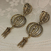 Sterling Earrings Turkish Filigree Solid Silver With Gold Vermeil Light As Air Screw Back
