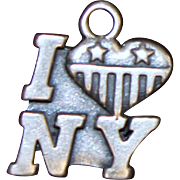 Sterling I LOVE NEW YORK Charm Solid Silver With Stars and Stripes Heart
