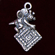 Sterling Quilting Bee Charm With Square Panel Vintage Solid Silver