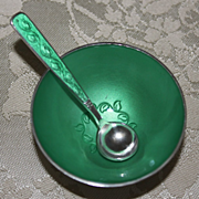 Sterling Enamel Salt Cellar by Meka of Denmark Vintage 1960's Minty Green Guilloche over Solid Silver With Matching Spoon