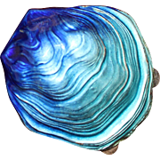 Figural 800 Silver Oyster Box With Shaded Enamel From Italy 1960's