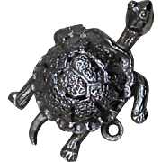 Sterling Turtle Charm Vintage Solid Silver Tortoise Theme Charm