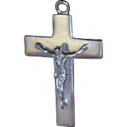 Big Heavy Sterling Cross With Christ Figure Solid Silver Pendant